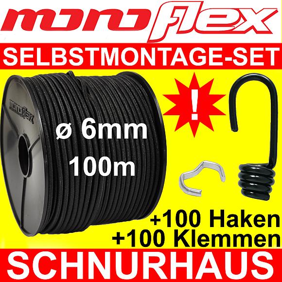 Gummiseil 100m Multiflex Expanderseil ø 4mm schwarz