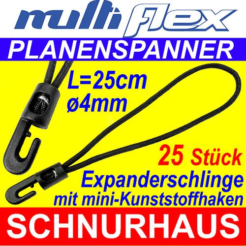 25 St/ück Planenspanner Expander Spanner mit Mini Kunststoffhaken Schlinge 25cm 4mm /Ø Schwarz