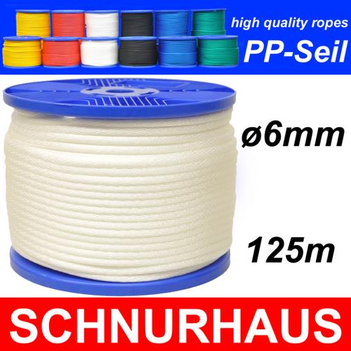 6mm PP 500daN SCHNURHAUS Schnur 50m schwarz Seil Reepschnur Tauwerk rope cord
